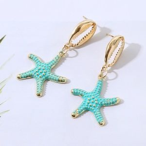 5 for $25 Turquoise Star Fish & Sea Shell Earrings